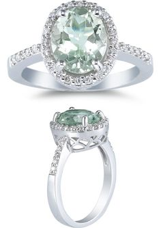 Sea-Foam Green Amethyst and Diamond Ring, 14K White Gold $725 I don't usually post rings because I love mine, but DAMN this is gorgeous