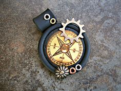 Faux Sculpey polymer clay compass pendant made for a friend who travels.