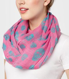 pink and blue skull scarf
