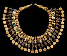 Necklace with stones, elaborate necklace inlaid with semiprecious stones.1st century AD, Bactria, Afghanistan.