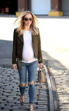 Casual maternity outfit. Again need a white tee.