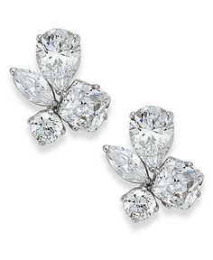 Eliot Danori Earrings, Rhodium-Plated Cubic Zirconia Cluster Stud Earrings (4-1/2 ct. t.w.) - Fashion Earrings - Jewelry & Watches - Macy's