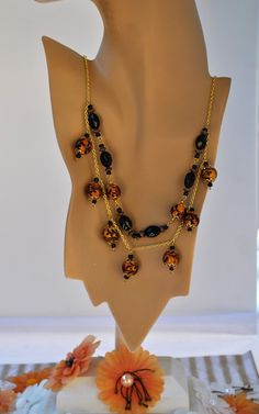 Gold And Black Beaded 2 Strand Chain Necklace by JewelrybyTheriot on Etsy