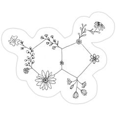 'flowers make me happy ; serotonin' Sticker by comparisons Flower Tattoos, Small Tattoos, Bee And Flower Tattoo, Chemistry Tattoo, Science Tattoos, Health Tattoo, Tattoos For Mental Health, Serotonin Tattoo, Flower Doodles