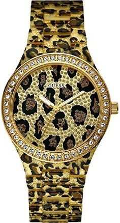 Guess W0015L2 Seductive Ladies Watch  Animal Print Dial -- Click image to review more details.