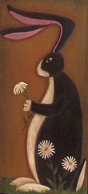 Primitive HP Folk Art Black White Bunny Daisies Spring Door Panel | eBay