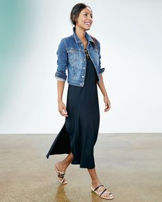 Eileen Fisher cropped denim jacket, maxi dress cute summer look Looks Chic, Looks Style, Eileen Fisher, Spring Summer Fashion, Spring Outfits, Casual Outfits, Fashion Outfits, Womens Fashion, Urban Fashion