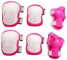 Eforstore Adult Women/men Unisex Knee Elbow Wrist Protective Pads Set for Skateboard Cycling Roller Skating and Other Outdoor Sports Safety Protective Gear Pads Set Color Pink+white - High hardness PVC shell, thickened soft sponge, safety ,comfortable and durable 3 colors Available ,You can choice your like Velcro strap design, slip-resistant ,convenient and adjustable size  Package contect:1pair Knee pads + 1pair elbow pads + 1pair Wrist pad  - http://ehowsuperstore.com/best