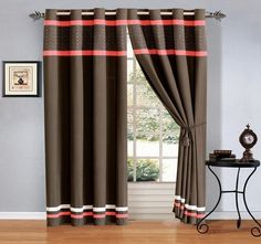 4 - Piece Coral Pink Brown Ivory Embroidered Grommet Luxury curtain set Drapes / Window Panels 120' Wide X 84' Tall >>> Visit the image link more details. (This is an affiliate link) #WindowTreatments