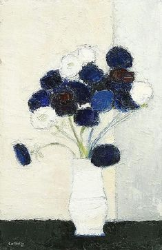 Bernard Cathelin, Anemones a la table noire oil on canvas | painted in 1988 | 92 x 60cm