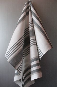 Tea Towel Set Stripes Striped Kitchen Towels Linen Towel Linen Hand Towels Linen Dish Towel Black Gray White Towels set of 2