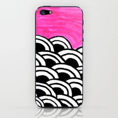 Sketchbook Bink 29 iPhone & iPod Skin by Cally Creates   Society6. (pink black white hand drawn pattern, also in blue)