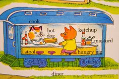 How could I doubt Richard Scarry as a child. Of course pigs eat hot dogs served by cats Richard Scarry, Children's Picture Books, 90s Kids, Children's Book Illustration, Vintage Children, Peace And Love, Vintage Posters, Childhood Memories, Childrens Books