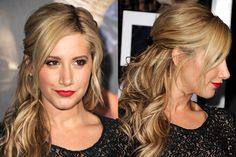 Ashley Tisdale pinned-back, piecey texture hair