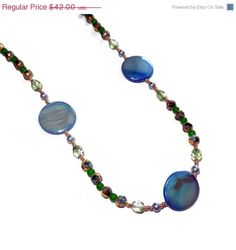 ON SALE Beaded Light Blue and Green Cloisonne by CloudNineDesignz