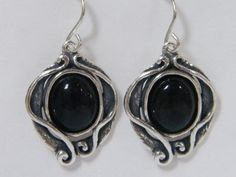 SHABLOOL ISRAEL Sterling Silver Decorative Oval Plate Earrings With Onyx