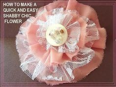 """Shabby Chic Flower YouTube Tutorial.  Bow Dazzling Volunteers, a good rule of thumb is Width x 8 for Length, plus 1/2"""" overlap; example measurements are .5"""" x 4.5"""", 1"""" x 8.5"""", etc.  Any shorter and your finished circle may curl on the outer edge because your strip is too short.  You can always cut longer, but this formula can prevent waste since you're not overestimating the length needed."""