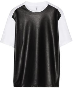 Love this: Faux Leatherpaneled Cottonjersey Tshirt @Lyst
