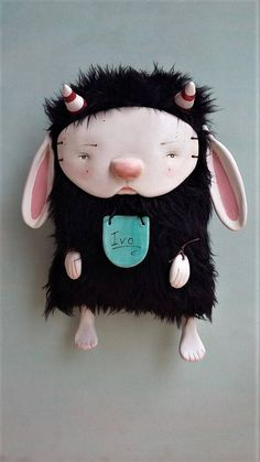 Art Doll Ivo the monster rabbit clay doll wall deco.