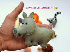 Felt RHINO stuffed felt Rhino magnet or ornament Rhino toy