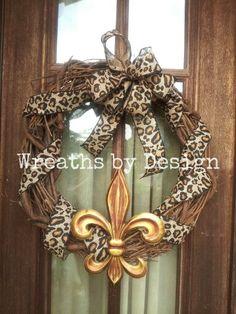 Leopard & fleur de lis grapevine wreath .Wreaths by Design