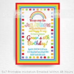 Rainbow Party Printable Invitation by Print POP Party    This is an emailed file, nothing will be shipped to you. Please include your childs name,