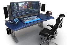 Creating Space for New Technology - Technical furniture for Broadcast, Video Production, Post-Production Edit, Security, Process Control and Dispatch Simple Computer Desk, Computer Desk Setup, Computer Workstation, Gaming Room Setup, Pc Desk, Pc Setup, Recording Studio Desk, Trading Desk, Game Room Design