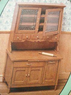 dollhouse Miniature Furniture Kit Hoosier Kitchen Cabinet