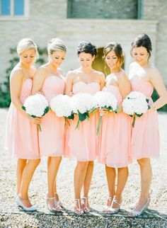 Beautiful bridesmaids': http://www.stylemepretty.com/destination-weddings/2015/04/01/intimate-pastel-wedding-in-the-cotswolds/ | Photography: Katie Julia - katiejulia.com