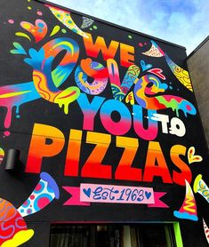 One more from my Pizza Mural at I went back to add the hashtags the other day and the owner told me that everyone in Closter is stopping in to say they love it. I'm so happy that my debut wall in Jersey is doing well! Pizza Box Design, Pizza Art, Space Painting, Nyc Art, Graffiti Wall, Cafe Design, City Art, Art Inspo, Butter Burgers