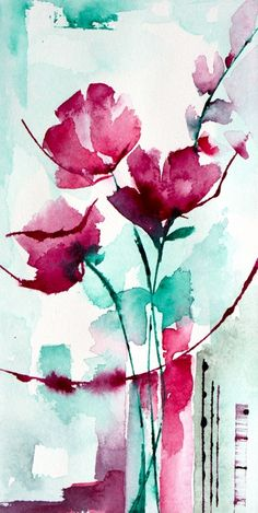 Petit instant N° 301 (Painting),  20x10 cm par Véronique Piaser-Moyen Aquarelle originale sur papier 300 G
