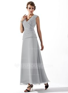 A-Line/Princess V-neck Ankle-Length Chiffon Mother of the Bride Dress With Ruffle Beading (008005756) - JJsHouse