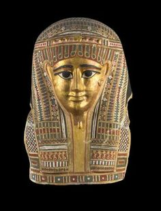 Mummy-mask of gilded and painted linen and plaster cartonnage, from a mummy of an unidentified man : Ancient Egyptian, from el-Rubiyat in the Fayyum, Ptolemaic Period, c.332 - 30 BC