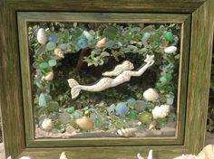 Sea Glass Art - Mermaid - Sea Glass - Gemstones - Handmade - Sea Shells
