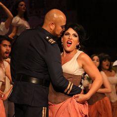 "Oziel Herrera as Zuñiga in opera ""Carmen"" with Audrey Babcock as Carmen."
