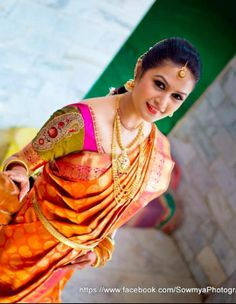 Traditional South Indian bride wearing bridal saree and jewellery. Muhurat look. Makeup by Swank Studio. Find us at https://www.facebook.com/SwankStudioBangalore