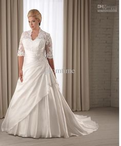 hot sale preferred lace plus size wedding dresses plus size bridal gowns with elbow sleeves W1129