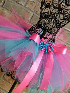 Hot Pink and Turquoise Tutu with Korker Bow by TickleMyTutu, $22.95