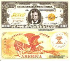 u.s. ten thousand dollar bill | ... Gold Certificate 10,000 Dollar Bills x 4 United States President Eagle