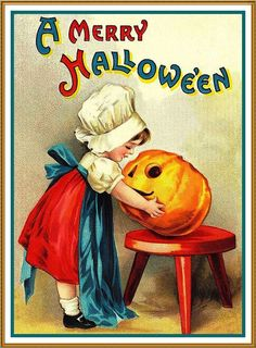 Little Girl Carving a Pumpkin Halloween Ellen Clappsaddle Counted Cross Stitch or Counted Needlepoint Pattern