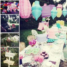 alice in wonderland mad hatter's tea party. Would be so cute for a little girl birthday party!