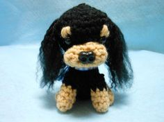 Cavalier King Charles Spaniel Crochet Dog in Black by KatesCache