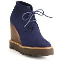 Stella McCartney Lace-Up Wooden Wedge Booties ($730) ❤ liked on Polyvore featuring shoes, boots, ankle booties, apparel & accessories, blue, platform wedge bootie, lace up booties, lace up ankle boots, lace up wedge bootie and platform wedge boots