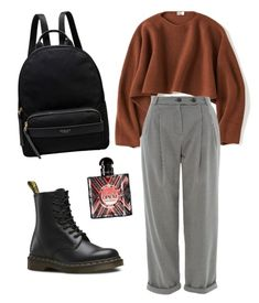 """Untitled #16"" by outfitcomposer on Polyvore featuring Uniqlo, Topshop, Dr. Martens, Radley and Yves Saint Laurent"