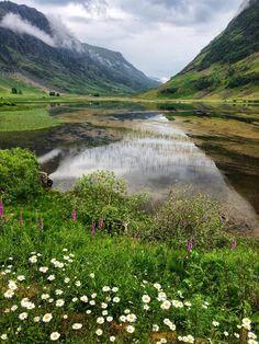 Loch Achtriochtan in Glencoe on a summer's day, Scotland.