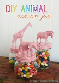 Cute DIY Mason Jar Ideas - DIY Animal Candy Jars - Fun Crafts, Creative Room Decor, Homemade Gifts, Creative Home Decor Projects and DIY Mason Jar Lights - Cool Crafts for Teens and Tween Girls http://diyprojectsforteens.com/cute-diy-mason-jar-crafts