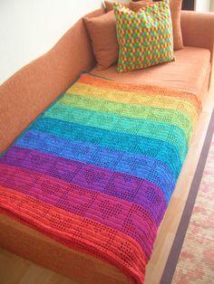Rainbow Hearts Filet Crochet Afghan / Curtain.