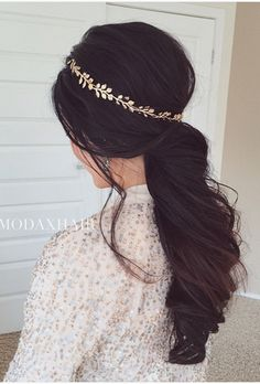 Wedding Ponytails: Low Curly Pony with Headband | Brides.com