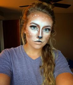 Doe a deer a female deer! I was super bored and feeling creative today! #halloweenmakeup #deermakeup #makeup #halloween by looks_by_brook