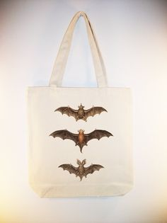 Awesome Vintage Bats illustration transferred onto Canvas Tote -- Selection of…